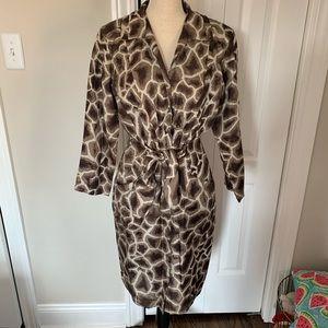 ELIE TAHARI 100% SILK dress ANIMAL PRINT